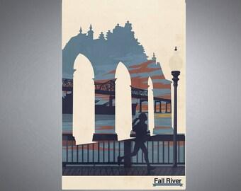 Fall River, Massachusetts  Battleship Cove Retro Styled Poster