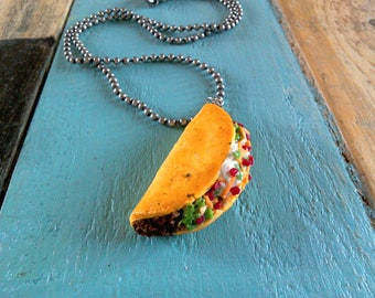 Polymer clay, Miniature fake food taco necklace, keychain, or magnet