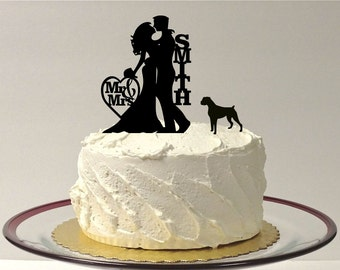Personalized Wedding Cake Topper with Dog, Silhouette Wedding Cake Topper Bride & Groom + Dog PitBull Rottweiler, Cake Topper + Rottweiler