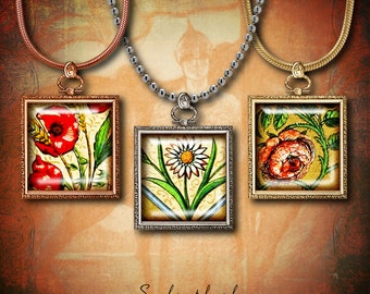 Medieval Flowers (2) Digital Collage Sheet - Squares 1 inch or 0.875 inch or scrabble 0.75x0.83 inch - Buy 3 Get 1 Extra Free