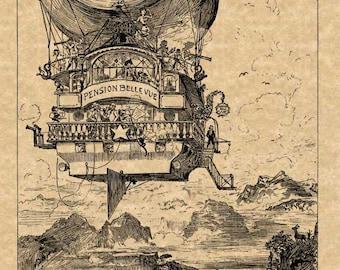 Albert Robida Art Print Steampunk Futuristic Airship Aircraft Airborne Hotel Antique Vintage 1883