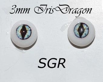 Hand Made Dragon Eyes 6mm - Aqua SGR- Fantasy - Character - Creature - Reptile OOAK