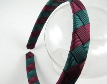 Maroon and Green Sriped Headband - Burgundy Headband - Hunter Green Headband - Maroon Headband - Ribbon Woven Headband - Headband