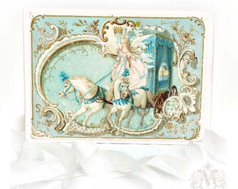 Christmas card, snow Queen, Marie Antoinette, horse and carriage, vintage style, holiday card, blank card