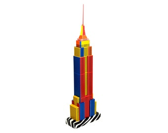 New York Skyscraper Building, assembled model of NYC skyscraper || Pop-art Edition in full color || 18 inches = 45 cm tall