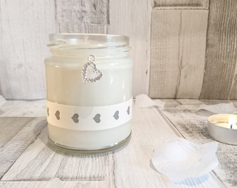 Heart charm- heart ribbon scented candle