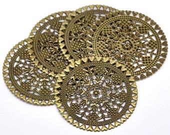 Large prints round pattern (x 1) bronze metal hearts