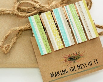 Aqua Mustard Green Whimsical Clothespin Set Strong Magnet Clips