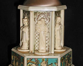 Swiss Harmony Roundelay Celluloid Vintage Music Box With Catholic Statues and Pictures