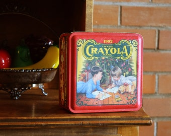 Crayola Crayons Christmas Tin - Tin Full of Crayons and Coloring Pencils - Collectible Vintage - Made in the USA - 1992