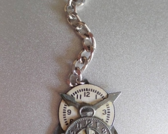 Victorian clocks key ring fob zipper pull pants belt loop chain rear view mirror fob, Steampunk bag pull wedding bouquet, assemblage fob