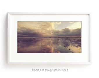 Beach Photography, Panorama, Gold Wall Art, Beach House Decor, Ireland, Seascape, Coastal Decor, Large Wall Art, Panoramic Wall Art