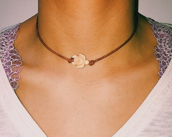 Sea Turtle choker necklace on leather cord with back bead closure