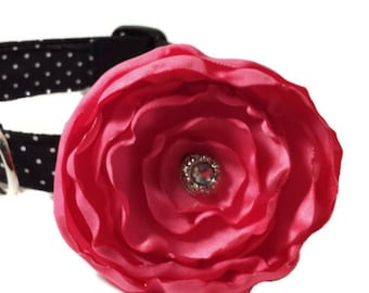 Polka Dot Dog Collar, Black and White, and Pink Flower Set, Adjustable Sizes for Small to Extra Large Dogs Handmade