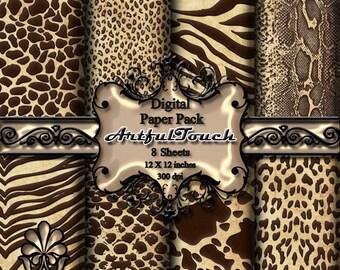 Digital Paper: Animal Print Digital Paper Pack Brown Digital Paper Brown Animal Print Scrapbooking Printable Digital Paper, INSTANT DOWNLOAD