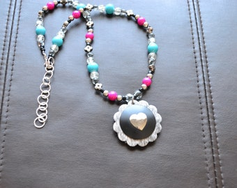 """Leather Concho, Metal Concho, Adjustable Western """"Heart"""" Necklace"""