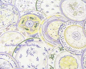 "Waverly Collage of Lilac plates fabric~by the yard~cotton~44"" wide"