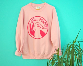Gull Power Jumper, Pink Girl Power Sweater, Spice Girls Top, Seagull Sweater, Pink Sweatshirt, Screenprinted Jumper, Feminist Sweater, Funny