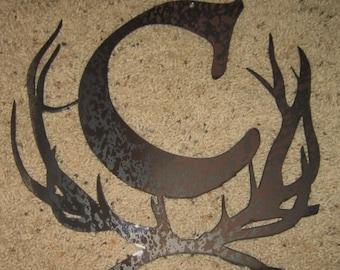 Antler Monogram-Metal art-steel art-custom order-special order-names-initials