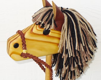 Stick Horse - Hobby Horse - Waldorf Toy - Personalized Wooden Toy - Brown/Black/Tan - Hill Country Woodcraft