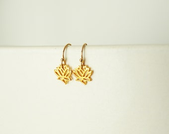 Tiny Lotus Earrings, Gold Earrings, Gold Lotus Earrings