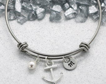 Anchor Bangle Bracelet - Personalized Initial & Birthstone - Anchor Jewelry for Women - Anchor Themed Gifts - Nautical Sea Ocean Related