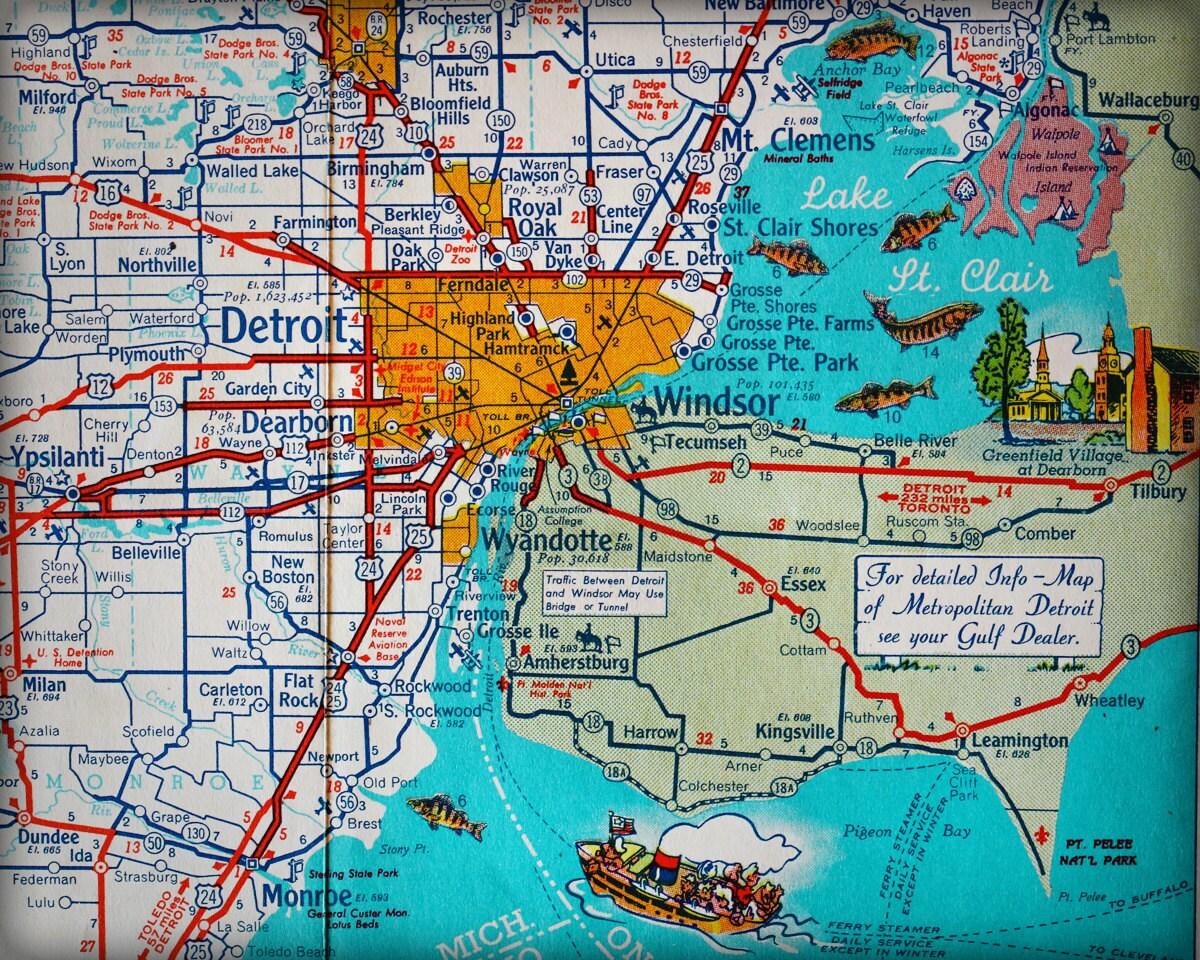 Detroit Michigan Windsor Ontario Canada Retro Map Print Funky - Windsor map