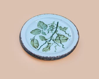 Midwinter Stonehenge 'Green Leaves' Dessert Plates (Set Of 3)