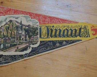 Vintage Travel Pennant, A Souvenir Flag from Dinant Belgium, Travel Memorabilia, Flags, Bunting, Decorative, Advertising, Citadel of Dinant