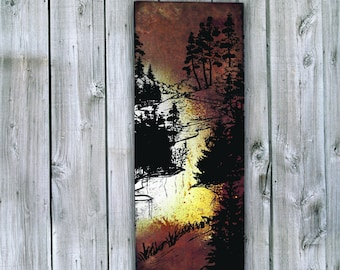 Stream Print on Rusted Metal- FREE SHIPPING