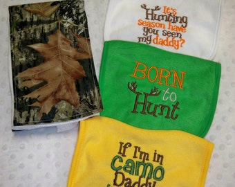 Camo Burp Cloth & 3 Bib Set With Deer Horns Perfect for the Little Hunter - Baby Boy Camo Gift Set - Camouflage Burp Cloth