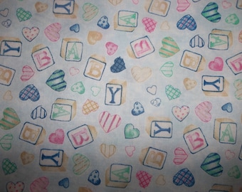 Sleepy Bear Baby Blocks Cotton Fabric #182