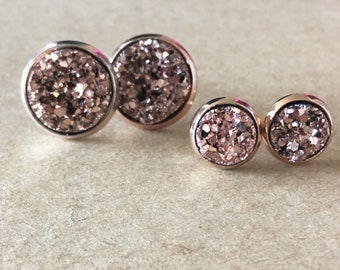 Champagne Druzy Stud Post Earrings, Rose Gold Faux Druzy Earrings, Druzy Earrings, Rose Gold Druzy Leverback Earrings