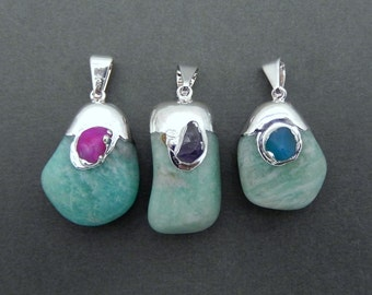 Natural Aqua Marine Pendant with Silver Electroplated Gemstone Accent Cap and Bail (S35B5b-13)