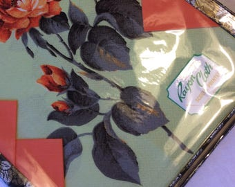 Irish Erinore Tablecloth and 4 Napkins 1970s Floral Rayon Cloth Screen Printed Boxed