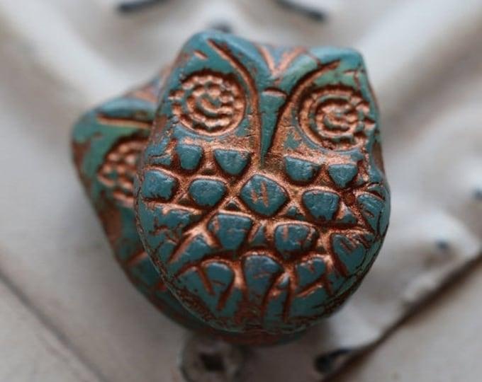 sale .. BLUE OPAL HOOTS No. 2 .. 2 Premium Picasso Czech Glass Owl Beads 18x15mm (5172-2)