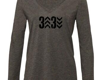 Women's Long Sleeve Baseball Shirt, 3 Up 3 Down Design, Women's Baesball Shirt, Printed Shirt, Flowy Long Sleeve, Baseball Long-Sleeve Tee