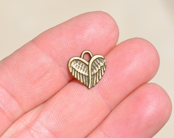 1 Antique Bronze Heart Wing Charm BC2646