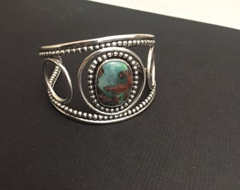 Turquoise and sterling silver beaded cuff