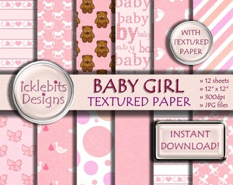 "Baby Girl TEXTURED Digital Paper Pack for Scrapbooking, ""BABY GIRL"" pink, baby stork paper,polka dot, baby feet, high resolution,Design #41"