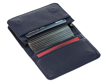 Burkley Case Credit Card Wallet / Business Card Holder in Saffiano Navy Blue Leather