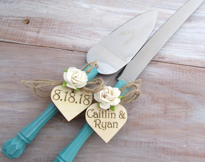 Personalized Wedding Cake Server Knife Set Rustic Wedding Cake Server Turquoise Wedding Server Set Personalized Wedding Gift Bridal Shower