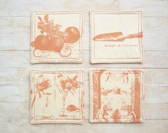 SALE * Drink coaster mug rug place mat coffee set of 4 garden orange daffodil narcissus radish vintage print rustic hostess Mother's gift