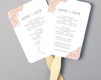 Instant Download   DIY Wedding Program Fan Template - Roses - Editable Colors   Mac or PC   Word & Pages   5x7