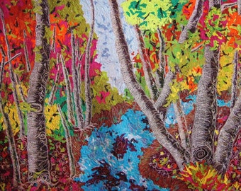 Natures Splendor Impressionistic thread painted fiber art quilt ready to ship!