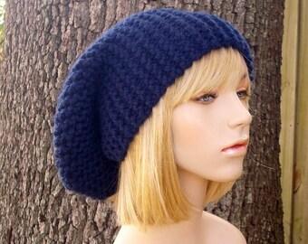 Knit Hat Blue Womens Hat Slouchy Beanie - Slouchy Hat in Navy Blue Knit Hat - Navy Blue Hat Navy Blue Beanie Womens Accessories Winter Hat