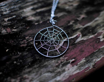 Wire-Wrapped Spider Web Design, Halloween Jewelry, Handmade Jewelry: Spider Web Wire Wrapped Pendant