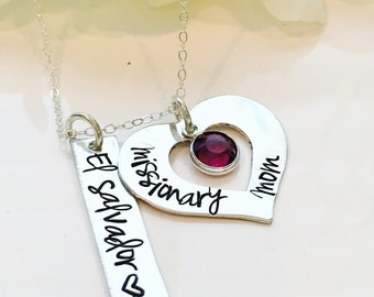 Hand Stamped Missionary Mom Necklace-Personalized Missionary Mom Necklace-LDS Missionary Necklace-Gift for Mom Jewelry