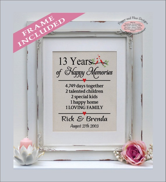 Gift For 13th Wedding Anniversary: 13th Wedding Anniversary Gifts 13 Years Married 13 Years