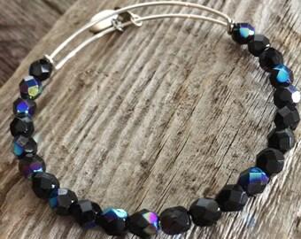 Black bangle bracelet, inspired,  beaded adjustable bangle bracelet, crystal bangle, stackable bracelet, beaded bracelets, memory wire